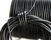 2mm Natural Leather cord, Round - Black - 10 feet, LC008