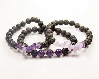 Stress reduction - Addiction recovery - Focus - Insomnia - Amethyst & Lava bead - Essential Oil diffuser bracelet