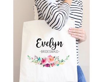 Tote Bags for Bridesmaids, Custom Name Tote Bag, White Tote Bag, Bridesmaid Gift, Floral Tote Bag, Wedding Party Gifts, Poly Canvas Tote Bag