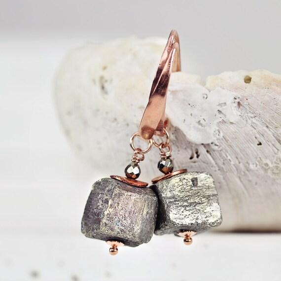Pyrite Cube Earrings – Raw Stone Earrings – Pyrite Jewelry - Rose Gold Earrings - Modern Earrings
