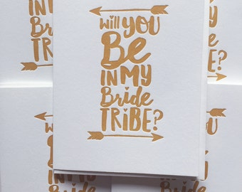 Bride Tribe Card / Will you Be in my Squad / Will you be my Bridesmaid / Will you Be in My Bride Tribe /  Bride Tribe Card. DeLuce Design