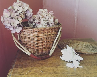 SALE- Vintage Basket With Rope Handles/ Fishing Creel
