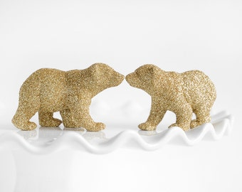 Two Baby Polar Bear Cubs in Gold Glitter Wedding Cake Topper, Table Decoration, Entertaining, Birthdays, Baby/ Bridal Shower Centerpiece
