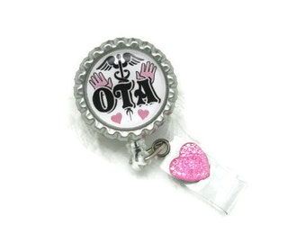 OTA Badge Reel - Occupational Therapy Assistant Badge Reel - Professional Badge Clips - Designer Badge Reels - Medical ID Jewelry - OTA Gift