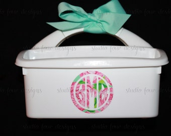 Monogrammed Lilly Shower Caddy - Must haves for Camp, Dorm & Sorority - Best Seller Graduation Gift - SMALL CADDY