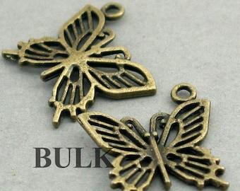 Butterfly Charms BULK order Antique Bronze 30pcs zinc alloy pendan beads 19X19mm CM0353B