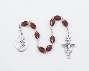 Saint Clare Chaplet, Vintage Brown German Glass Beads, Patron Saint of Television, Laundry, and People Rejected by Religious Orders