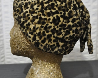 60s Vintage Fake Leopard Fur Hat