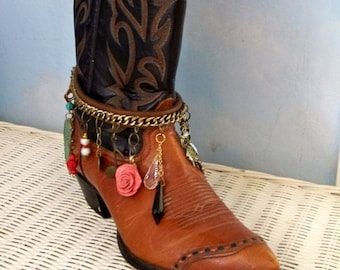 Boot jewelry, boot bracelet, cowgirl jewelry, Free People, leather boot strap, boot chain , boot charm bracelet, anklet, western boot candy