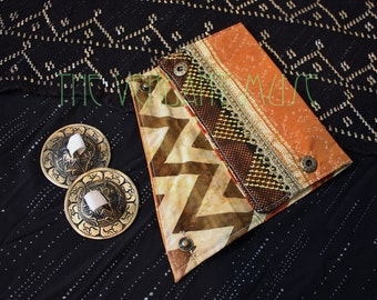 Small Assuit Zil Bag- Rusty Orange and Cream Ikat Silk Finger Cymbals Pouch