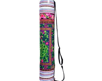 Green Flowers Gorgeous Yoga Bag With Embroidered Pattern  (BG8020-2C11)