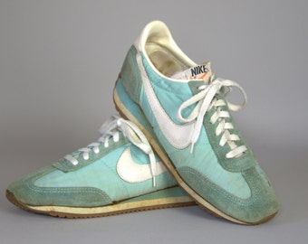 80s NIKE Made In Korea Turquoise Leather Swoosh Running Shoes Size Womens 7.5