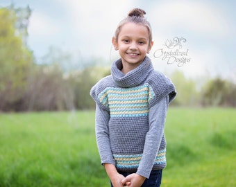 PDF Crochet PATTERN Avalon Shore Pullover Child Sizes