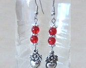 Red Double Bead Silver Heart & Flowers Charm Earrings, Red Modern Drop Earrings, Charm earrings, Handmade Beaded Jewelry, Valentine's Day
