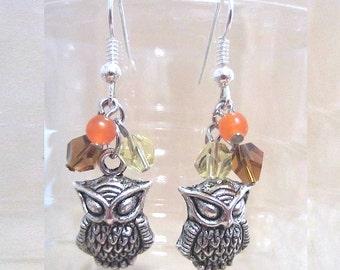 Silver Owl Semi Precious Stone Earring, Silver Owl & Bead Earrings Earth Tones Over Owls, Handmade Helix Crystal Beaded Earrings Collector