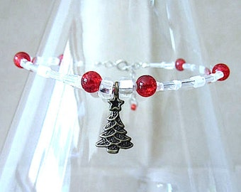 Red & White Christmas Tree Anklet, Red Crackle Accent Bead Anklet w/Bronze Christmas Tree Charm, Ankle Braceclet, Handmade Beaded Jewelry