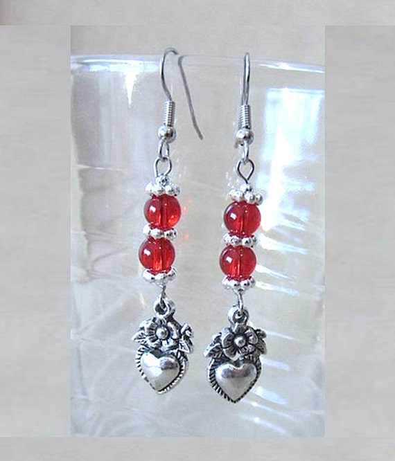 Double Bead Silver Heart & Flowers Charm Dangle Earrings Handmade Original Fashion Jewelry Valentine's Day Romantic Simple Elegant Gift Idea