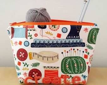 Large Create Knitting Bag, Knitting Project Bag, Crochet Bag, Crochet Project Bag, Zipper Pouch, Zipper Bag, Travel Bag, Travel Pouch
