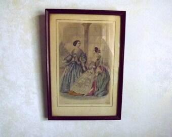 1862, Godey's Magazine, hand tinted, Fashion illustration, Civil War, framed, original, not a reprint