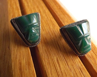 Sterling Silver, Tribal, Vintage, Artisan earrings, Primitive, Mayan, carved stone face, mask,