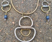 Geometric Mixed Metal D-Ring Necklace and Earring Set with Blue Beads
