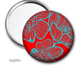 Red and blue floral pocket mirror, purse mirror