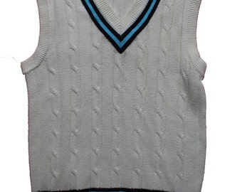 Vintage Cricket Jumper-Sleeveless Chunky Knit Cream Sweater Vest Sport -Mens Clothing -Wool Large - Navy turquoise stripe