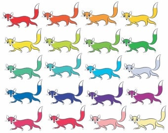 Fox clip art, fox clipart.  20 sly foxes in all different colors, transparent png files