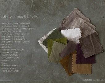 Fabric Samples SET 2 / natural/ brown/ white/ green