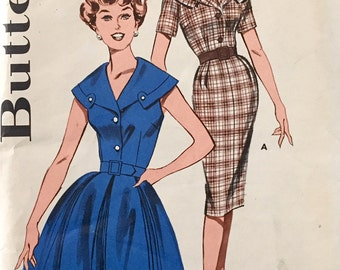 "Vintage 1950s Butterick Misses' Wiggle Dress Pattern 9407 Size 14 1/2 (35"" Bust)"