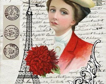 Victorian Collage with Eiffel Tower on French Love Letter