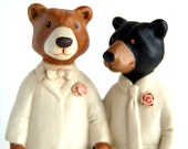 bear couple cake topper - groom and groom - husband and husband - whimsical wedding - ceramic