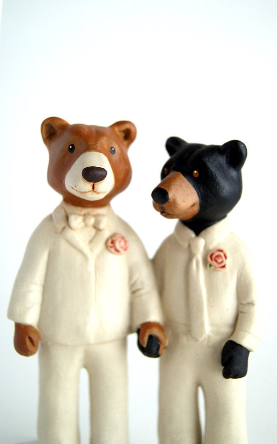 bear couple cake topper - groom and groom - husband and husband - whimsical wedding - ceramic