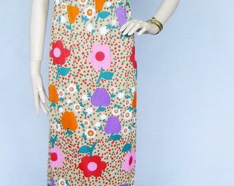 60s dress, vintage dress, flower power, maxi dress, xs/sm dress