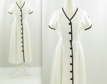 Simon Chang Dress - Vintage 1980s does 50s White Circle Skirt Dress in Small