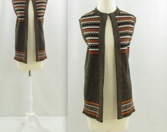 Southwest Knit Vest - Vintage 1970s Womens Sweater Vest - Medium Large