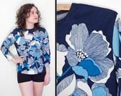 Blue PSYCHEDELIC Floral Top Fairfield Zio Luigi 1960s Med
