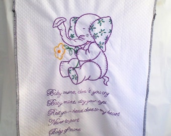 Baby Mine Baby Elephant Wall Hanging Artwork Purple Embroidery