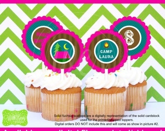 Girl Camping Party Circles - Camping Cupcake Toppers - Glam Camping Toppers - Glamping - Digital and Printed Available