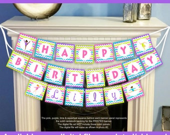 Gymnastics Birthday Banner - Gymnastics Party Banner - Personalized Party Banner - Digital and Printed Available