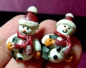 Santa Snowmen Earrings, Cute snowmen earrings, post earrings, holiday earrings.....