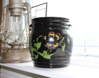 Vintage Cookie Jar Black Amethyst Glass