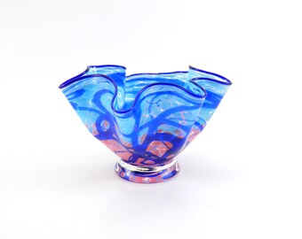 Pink and Blue Blown Glass Bowl