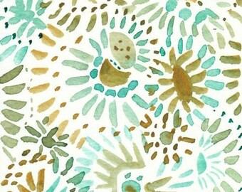Watercolor Floral Sunburst Design, Original Painting, 4x6, gold, green, mint