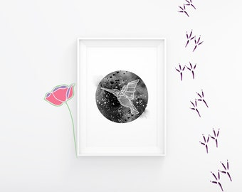 "Geometric origami hummingbird printable poster 8x10"". Modern minimalist chic design."