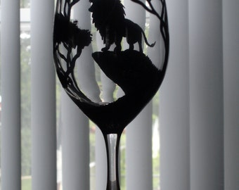 1 Hand painted lion wine glass