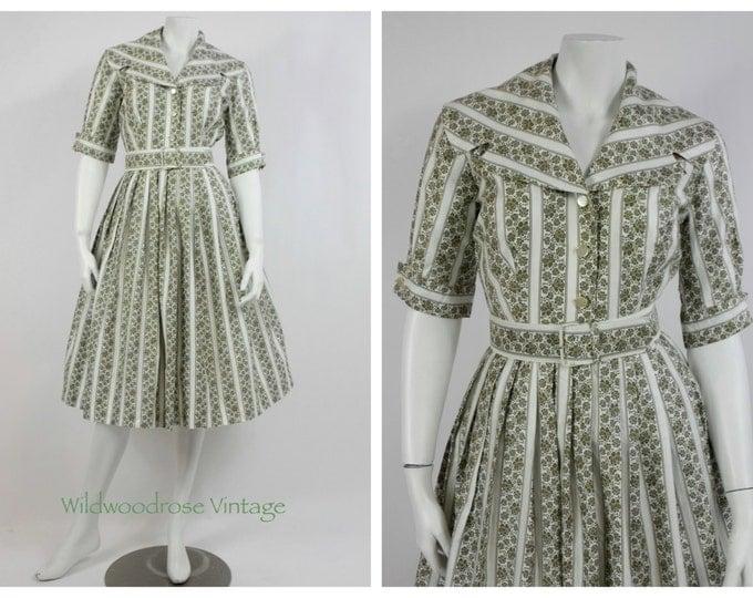 1950's Floral Cotton Day Dress - 50's Cotton House Dress - Vintage Rockabilly Dress - New Look Cotton Dress -  Mad Men Dress - Size 6