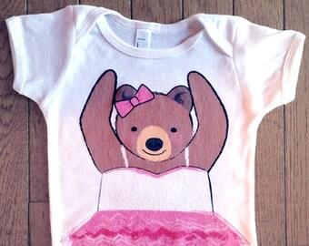 Baby Girl Ballerina Onesie - Ballet Baby Clothes - Bear Bodysuit