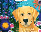 Cosy, Colorful, Yellow Dog - 6 Note Cards