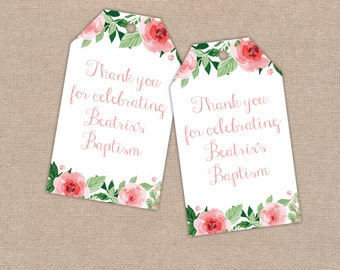 Baptism Christening Thank You Tags, Gift Bags, Favours, Watercolour Roses, Baby Girl, New Baby, Digital Printable